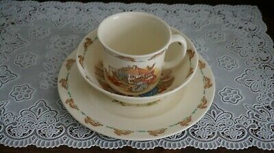Royal Doulton Fine Bone China BUNNYKINS Bowl, Cup and Plate 3 pc Set, England