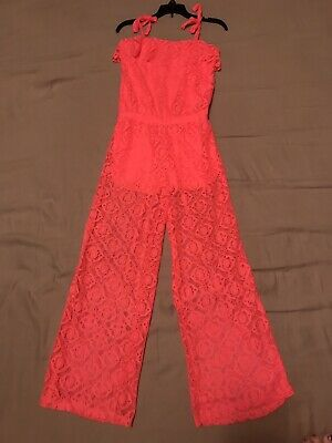 Limited Too Girls Romper Neon Coral Pink Size 14-16 Lace Overlay EUC
