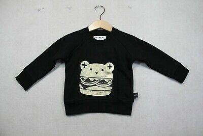 Baby Boy Size 0,1,2 Huxbaby Black Huxburger Sweater NWT