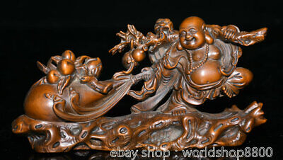 "6.8"" Old China Boxwood Hand-carved Feng Shui Happy Laugh Maitreya Buddha Statue"