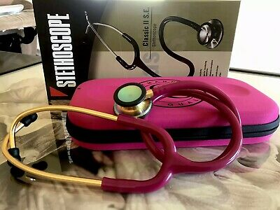 Dual Head Stethoscope Red wine tubing with gold binaural and littmann case