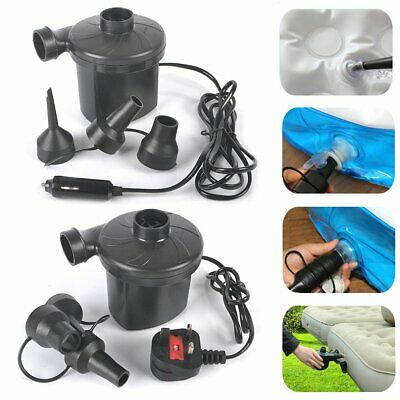 Electric Air Pump Inflator Camping Airbed Boat Toy Ball 12V Car Plug 240V Mains