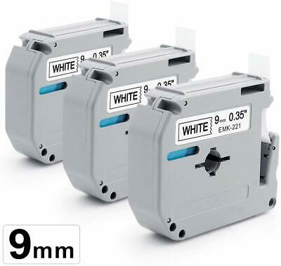"""3X M-K221 Compatible for Brother P-touch Label MK221 Black/White 9mm 3/8"""" Tapes"""