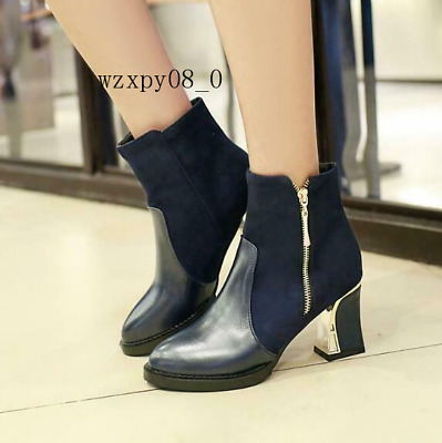 Womens Chunky Mid Heel Side Zip Pointed Toe Chelsea Ankle Boots Shoes Size 34-48