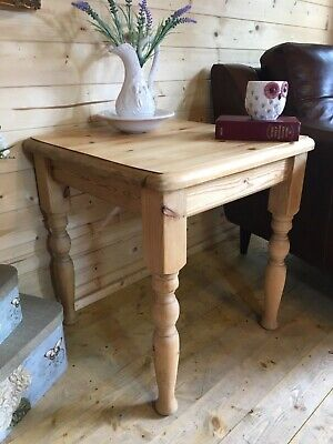 Farmhouse rustic small solid waxed pine coffee table console lamp table