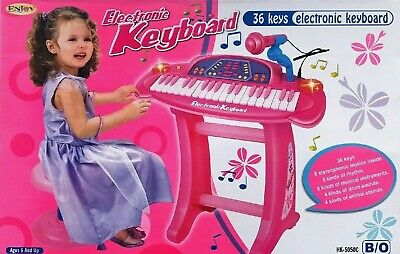 PRINCESS BEAUTIFUL Pink Piano with Table Play Set Stool girls TOY g