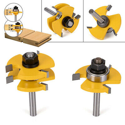 """2x Tongue & Groove Router Bit Set 1/4"""" Shank T-Type3-Tooth For Woodworking Top"""