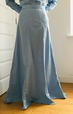 Handmade Edwardian style 6 panels ladies Skirt, full length, blue, black, new