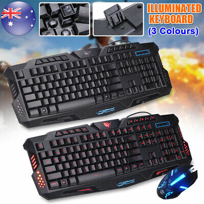PC Laptop Gaming Keyboard and Mouse Wired USB 3 Color LED Backlight Illuminated