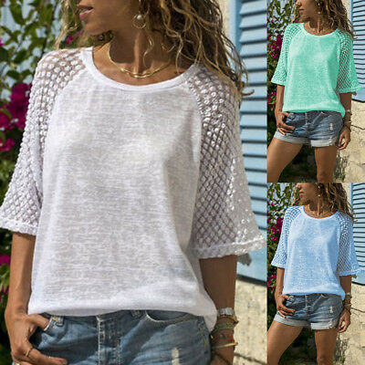 Womens Plus Size Lace Patchwork Summer O-Neck Blouse T Shirt Loose Tops Pullover
