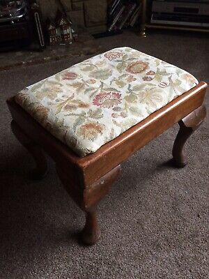 Vintage Early Mahogany Tapestry Seat Footstool Stool on Queen Anne Legs
