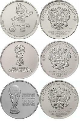 RUSSIA 3 X 25 ROUBLES 2018 COINS SET UNC FIFA World Championship Football