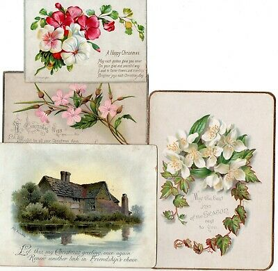 x4 Victorian Christmas Cards, Scenic, Flowers, Craft Lot