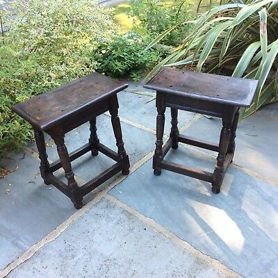 Rarely Available Pair Of Peg Jointed Antique Oak Stools