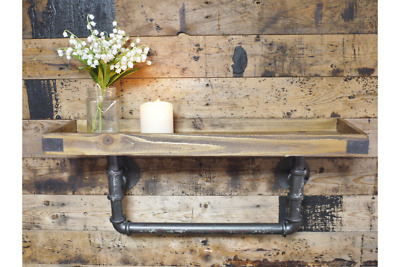 Vintage Rustic Shelf Factory Floating Wooden Pipe Wall mount 60CM