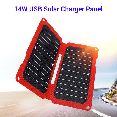14W 5V 2.8A Solar Charger Panel with USB Port Foldable for Phone Climbing Hiking
