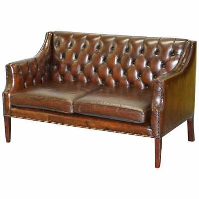 Restored 134Cm Wide Lutyen's Viceroy Chesterfield Brown Leather Two Seat Sofa
