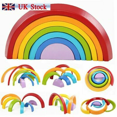 Baby Kids Rainbow Stacking Toy Child Puzzle Wooden Birthday Christmas Gifts