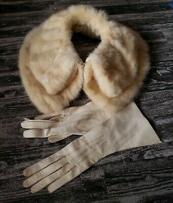 Vintage Genuine White Mink Fur Collar With One Eye Hook with Leather Gloves 7
