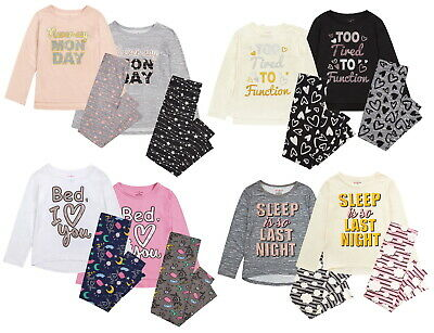 Girls Slogan Pyjamas Childrens Pjs Kids Tweens Teens Soft Luxury Lounge Set Gift