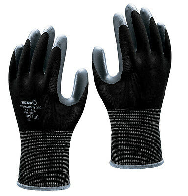 SHOWA 370 Assembly Grip Nitrile Palm BLACK Gloves 8/L  -  100 Pairs