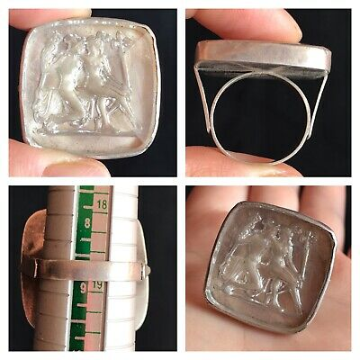Very Old Roman Glass With Pictures Solid Sliver Unique Ring