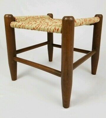 Vintage Arts Crafts Mission Footstool Stool Ottoman Oak Wood With Weaved Top