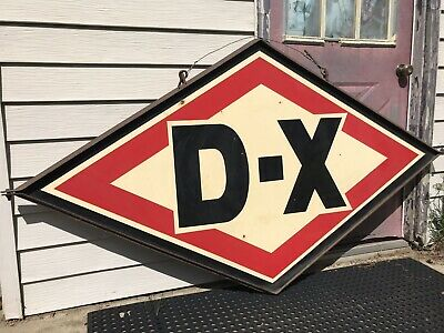 Rare Vintage Original 8ft Double Sided Porcelain D-X Gas Station Oil Sign