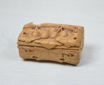 Antique Collectible Handmade Wooden Carved Miniature Trinket Box Grapes Motive