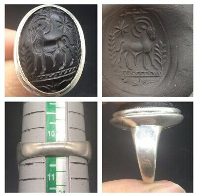 Very Old Ancient Marcapollo Animal Intaglio Solid Sliver Uniqe Ring