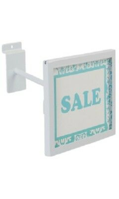 "6 Slatwall Sign Holder White Holds 7"" Wide x 5 ½"" High Signs Metal Slat Wall"