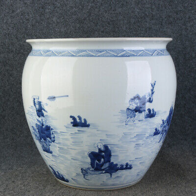 "11.4"" Chinese Porcelain kangxi Blue & white character luohan pattern Jar pot"