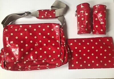 Cath Kidston Red Cream Spot Baby Changing Bag Oil Cloth