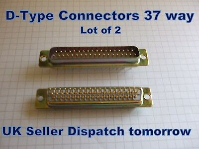 DB37 Pin D-Sub Connector  LOT OF 2