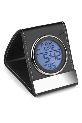 Leather Lcd Travel Alarm Clock - Battery Operated With Back Light- New And Boxed