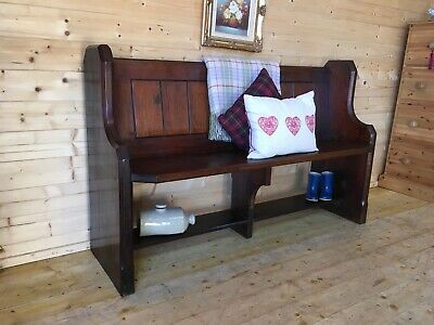 Antique old rustic solid pine church pew settle monks bench wooden hall seat
