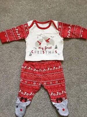 Christmas Baby Sleepsuit Two Parter PJs Pajamas 0-1 Month New Born Boy Girl