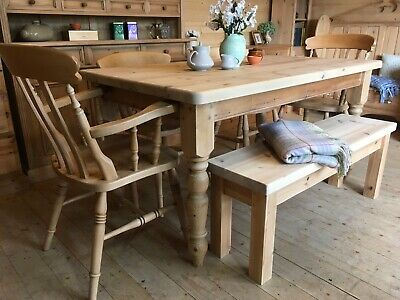 6 seater Farmhouse rustic solid waxed pine large table chairs and bench