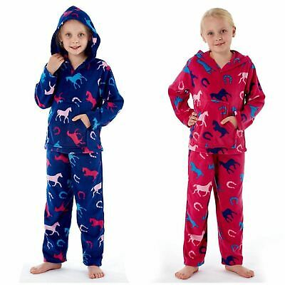 Kids Girls Horse Print Warm Snug 2 Piece Hooded Nightwear Pyjamas Set Age 7-13