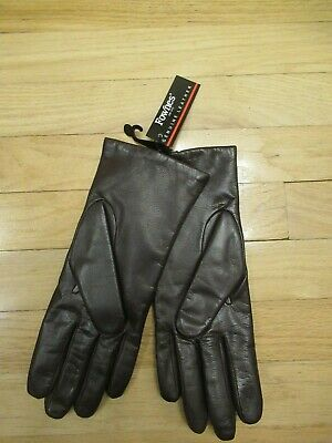 Fownes Women's Soft Brown Leather Gloves Polyester Lining Size 8 1/2 NWT