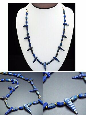 Ancient Extremely Old Bactrian Lapis Lazuli Unusual Crocodile Head Bead Strand