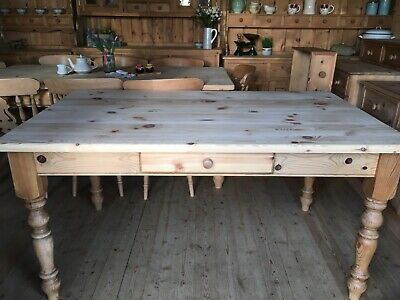 Rustic 6 seater Farmhouse solid waxed pine large table and chairs x 6
