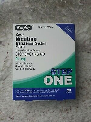 Rugby Nicotine Transdermal System 28 Clear Patches Step 1 (21mg) Exp 05/21