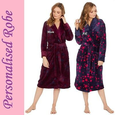 PERSONALISED Womens Ladies Soft Dressing Gown Robe Bathrobe - CHRISTMAS GIFT