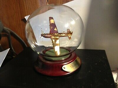 """Rare Mustang Gold Colored Plane Inside  Display Case """"Free Shipping"""""""
