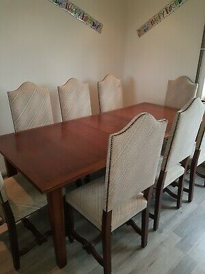 Solid Oak Extending Dining Table And 8 Chairs