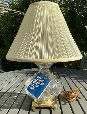 "Authentic WATERFORD CRYSTAL LISMORE Table Lamp 19"" Tall Brass Claw Foot Vintage"
