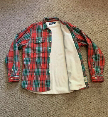 POLO Ralph Lauren Plaid 2 Pocket Flannel THERMAL LINED Casual Work Shirt Sz L