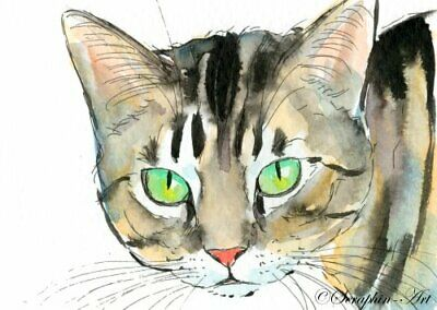 Original ACEO Watercolor Painting Brown Tabby Cat Kitten Miniature Seraphin-Art