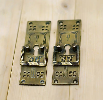 Lot of 2 Pcs Vtg Retro Drawer Pull with KEY HOLE Brass Cabinet Door Pull Handle